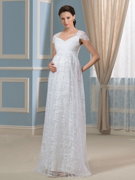 A Line Straps Lace Floor Length Pregnant Maternity Wedding Dress