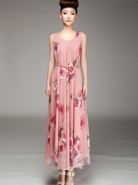 Chiffon Flower Print Maxi Dress