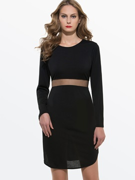 European Mesh Waist Zippered Bodycon Dress