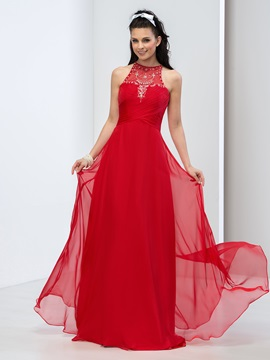 Bright Jewel Neck Pleats Beaded A Line Long Prom Dress