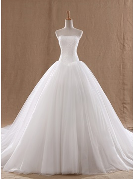 Floor Length Ball Gown Strapless Lace Top Wedding Dress