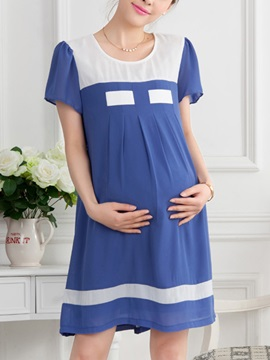 Contrast Color Puff Sleeve Maternity Dress