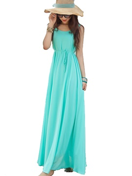 Plain Round Neck Sleeveless Maxi Dress
