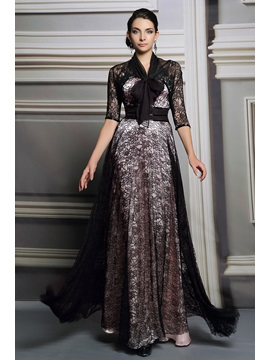 Vintage Lace Halter A Line Long Evening Dress With Jacket
