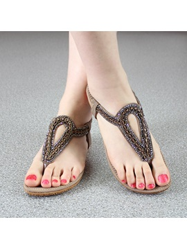 Vintage Style Beads Decorated Thong Sandals