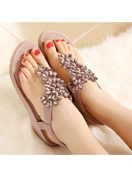 Shining Floral Rhinestones Thong Womens Sandals