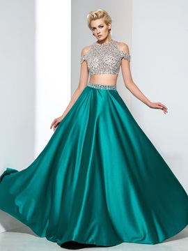 Modern Straps Beading Crystal Two Piece Prom Dress