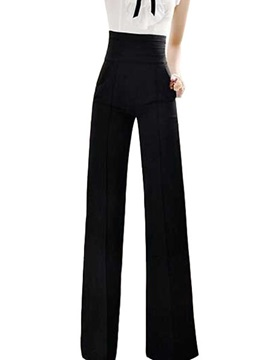 Black Cotton Blends Wide Leg High Waist Pants