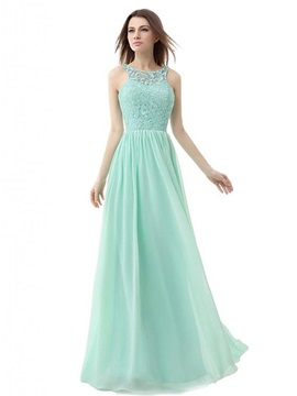 Simple Scoop Neck Lace Backless A Line Long Prom Dress