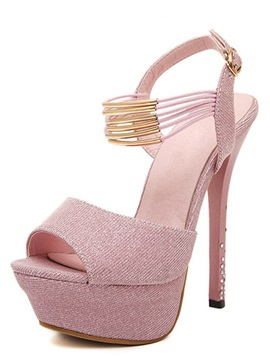 European Metal Strap Decorated With Rhinestone Stiletto Heel Sandals