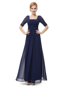 Floor Length A Line Square Neck Lace Short Sleeve Mother Of The Bride Dress