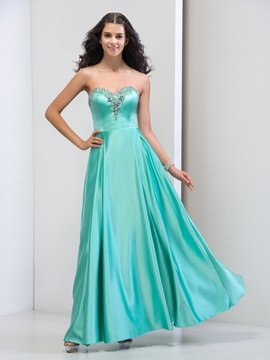 Attractive Sweetheart A Line Beaded Crystal Long Prom Dress