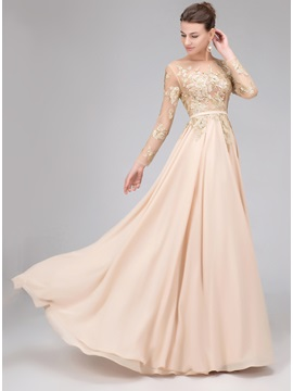 Long Sleeves Sequined Appliques Backless Evening Dress