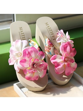 Summer Bohemia Wedges Flip Flops Flower Beach Shoes