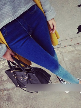 Skinny Coating Denim Pencil Jeans