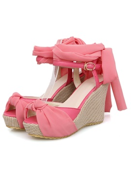 Sweet Color With Ankle Strap Wedge Sandals