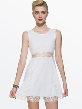 European Style Lace Joint Day Dress