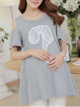 Cutout Sleeve Question Mark Print Maternity Tee