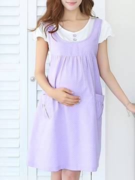 High Waist Solid Color Button Front Maternity Dress