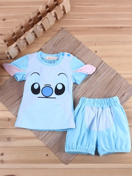 Babys 2 Piece Cartoon Tee Shorts Set