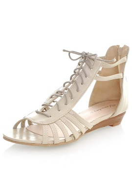 Fashion Lace Up Cover Heel Sandals