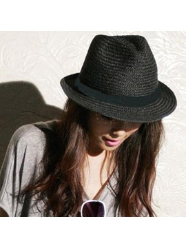 Simple Belt Decorated Straw Hat