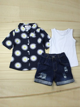 Babys Printing T Shirt Vest Denim Shorts Set