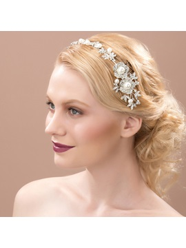 Fancy Floral Rhinestone Alloy Wedding Headband