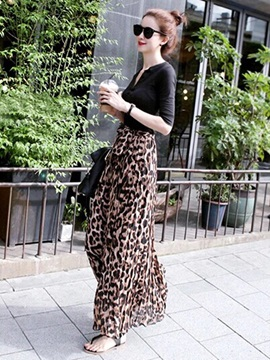 New European Chiffon Leopard Print Skirt