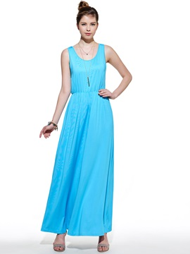 Bohemian Pure Color U Neckline Maxi Dress