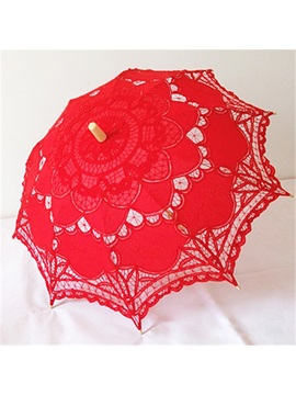 Red Lace Wedding Umbrella Parasol