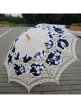 Fancy Blue Appliques Lace Wedding Umbrella
