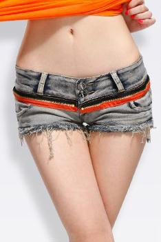 Skinny Cotton Denim Drop Waist Tassel Shorts