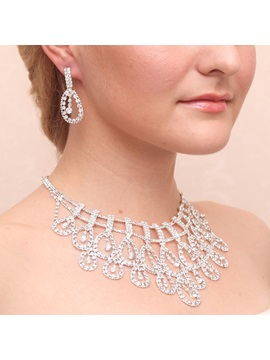 Charming Waterdrop Rhinestone Alloy Wedding Jewelry Set Including Necklace And Earrings