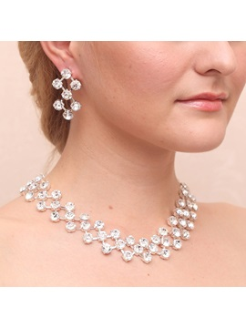 Gorgeous Rhinestone Diamante Alloy Wedding Jewelry Set Including Necklace And Earrings