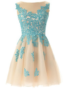 Pretty A Line Lace Appliques Short Homecoming Dress