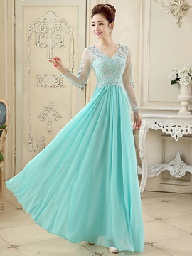 Fancy V Neck Appliques Sequins A Line Long Sleeves Long Prom Dress