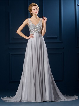 Graceful V Neck Straps Crystal A Line Court Train Long Evening Dress