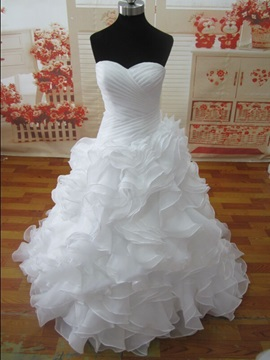 Floor Length A Line Ruched Sweetheart Ruffles White Organza Wedding Dress