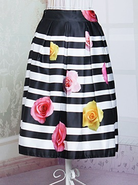 Stylish Flower And Stripe Printing Pleated Skirt