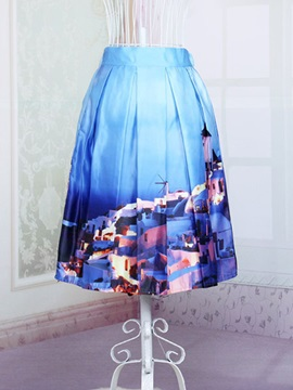 Stylish Polyester Printing Womens Skirt