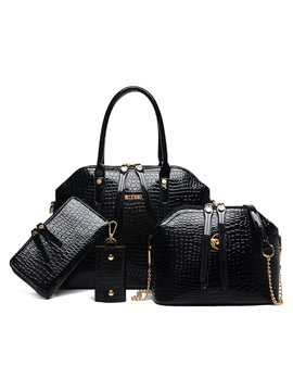 Croco Embossed Double Decorated Bag Set Four Bags