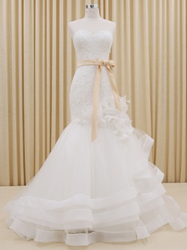Floor Length Trumpet Sweetheart Lace Top Ruffles Ivory Tulle Wedding Dress With Sash Ribbon
