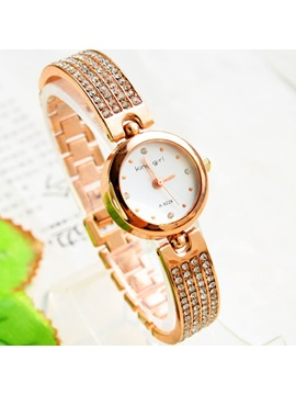 Round Dial With Rhinestone Chain Watch