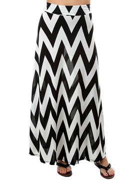 Slimming Cotton Blends Stripe Print Ankle Length Skirt