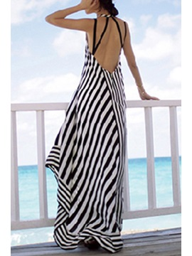 Bohemian Spaghetti Strap Stripe Dress