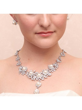Hot Pearls Rhinestone Alloy Wedding Jewelry Set Including Necklace And Earrings