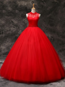 Floor Length Ball Gown Beaded Floral Red Tulle Wedding Dress