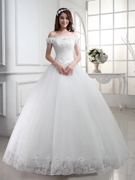 Floor Length Ball Gown Beaded Lace Off The Shoulder Wedding Dress
