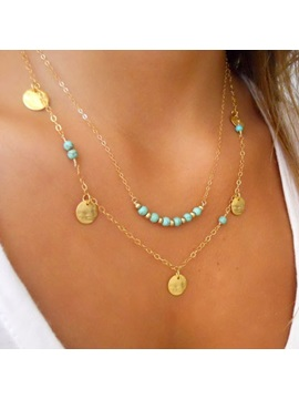 Double Deck With Turquoise Alloy Necklace